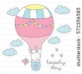 Cute Bunny In Air Balloon...