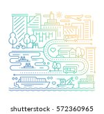 city life   vector modern plain ... | Shutterstock .eps vector #572360965