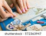 scrapbook background. card and... | Shutterstock . vector #572363947