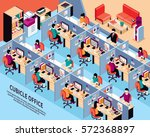 office workplace isometric... | Shutterstock .eps vector #572368897