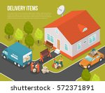 colored isometric delivery... | Shutterstock .eps vector #572371891
