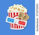 cinema and movie time concept... | Shutterstock .eps vector #572372041