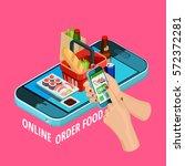easy online food order... | Shutterstock .eps vector #572372281