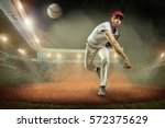 baseball players in action on... | Shutterstock . vector #572375629