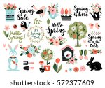 Stock vector spring set hand drawn elements calligraphy flowers birds wreaths and other perfect for web 572377609