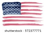 watercolor flag of america... | Shutterstock .eps vector #572377771