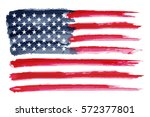 watercolor flag of america... | Shutterstock .eps vector #572377801