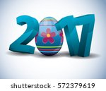 2017 easter   3d text with... | Shutterstock .eps vector #572379619
