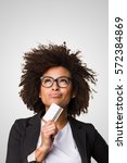 business black woman holding a... | Shutterstock . vector #572384869