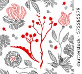 spring colors. floral seamless... | Shutterstock .eps vector #572385379