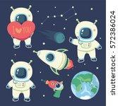 vector cartoon style cosmonaut  ... | Shutterstock .eps vector #572386024