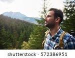 Hiker Admiring The View High U...