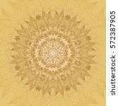 mandala card in yellow colors... | Shutterstock .eps vector #572387905