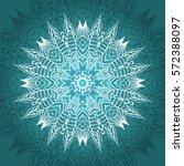 mandala card in turquoise ... | Shutterstock .eps vector #572388097