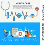 Health care concept in modern flat design. Two horizontal web banners with a lot of medical icons. Vector illustration health monitoring elements can used for web and info graphic