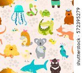 animal background with... | Shutterstock .eps vector #572395279