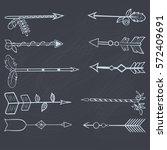 set of hand drawn arrows... | Shutterstock .eps vector #572409691