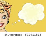 pin up style smiling woman with ... | Shutterstock .eps vector #572411515