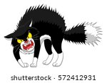 angry cartoon black cat | Shutterstock .eps vector #572412931