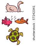 swan fish turtle - stock vector