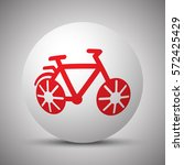 Red Bicycle Icon On White Sphere