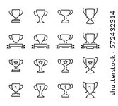 set of trophy icons in modern... | Shutterstock .eps vector #572432314