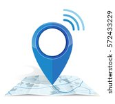 wifi.gps icon mock up  blue... | Shutterstock .eps vector #572433229