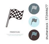 checkered flags vector line...   Shutterstock .eps vector #572444677