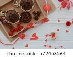 cupcakes and decorations on the ... | Shutterstock . vector #572458564