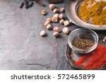 cardamom  chilli  cumin  curry... | Shutterstock . vector #572465899