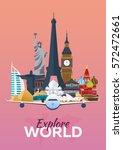 travel poster. explore world.... | Shutterstock .eps vector #572472661