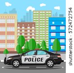 generic police car at cityscape ... | Shutterstock .eps vector #572472754
