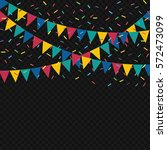 festive flags and confetti.... | Shutterstock .eps vector #572473099