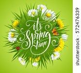 spring hand lettering on... | Shutterstock .eps vector #572476339