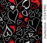 doodle heart isolated on black... | Shutterstock .eps vector #572479981