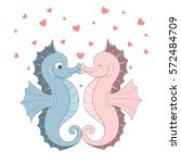 vector two seahorses with red...   Shutterstock .eps vector #572484709