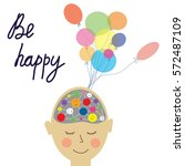 happy person concept card with... | Shutterstock .eps vector #572487109