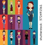 set of people with full body  | Shutterstock .eps vector #572491561