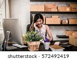 young asian teenager owner... | Shutterstock . vector #572492419