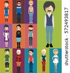 set of people with full body  | Shutterstock .eps vector #572493817