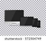 set of realistic tv  lcd  led ... | Shutterstock .eps vector #572504749