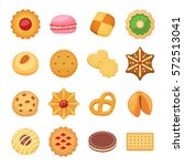 different cookie cakes isolated ... | Shutterstock .eps vector #572513041