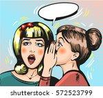 vintage gossip girls artwork.... | Shutterstock .eps vector #572523799