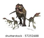 A tyrannosaurus rex chases three small compsognathus dinosaurs - 3D render. - stock photo