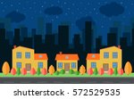 Vector Night City With Cartoon...
