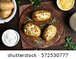 baked stuffed potatoes with... | Shutterstock . vector #572530777