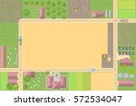 farm top view. fields  houses ... | Shutterstock .eps vector #572534047