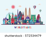 travel and tourism background.... | Shutterstock .eps vector #572534479