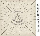 retro nautical lineart label.... | Shutterstock .eps vector #572537125