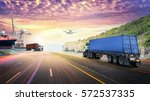 Small photo of Logistics import export background and transport industry of Container truck on the road with Cargo ship and Cargo plane at sunset sky